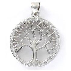 Colgante de plata árbol de la vida calado de 20 mm y bisel de circonita