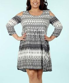 Another great find on #zulily! Black Geometric Cold-Shoulder Dress - Plus #zulilyfinds