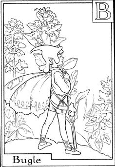 letter b for bugle flower fairy coloring page