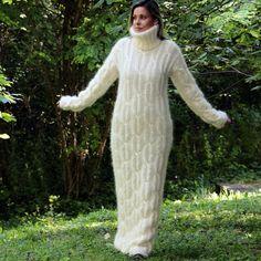 Hand Knitted Mohair Sweater Fuzzy Turtleneck WHITE Dress by EXTRAVAGANTZA S M L #EXTRAVAGANTZA #Turtleneck
