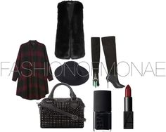 FASHIONOFMONAE by monaels featuring nars cosmetics Monki dress, $44 / DKNY vest / CJG thigh-high boots, $150 / Betsey johnson purse / Whistles black fedora, $105 / Nars cosmetic / Nars cosmetic, $24