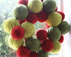 yarn ball wreaths - Google Search