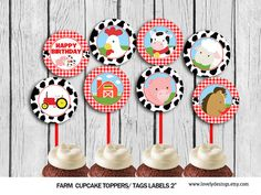 Farm Cupcake Toppers Animlas Party Toppers by TheLovelyDesigns Farm Birthday, Birthday Parties, Farm Cupcake Toppers, Cow Cupcakes, Farm Party, Party Printables, First Birthdays, Ideas Para, Baby Shower