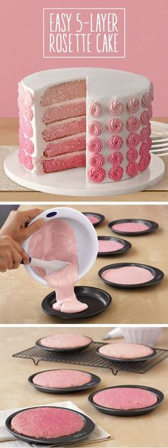 Rose Ombre Birthday Cake in 5 Easy Layers
