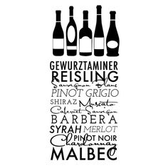 Wine Title List with Wine Bottles Urban Quote by danadecals
