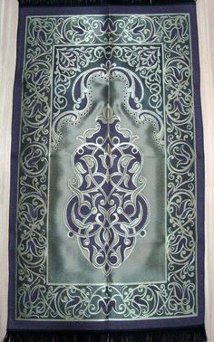 BLUE/GREEN islamic prayer rug - CARPET - Mat Namaz Salat Musallah Taffeta gift