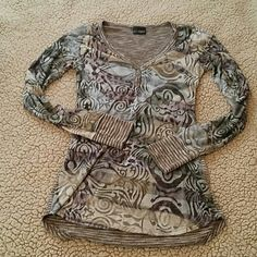 Day trip casual long sleeve flirty shirt Sheer super comfy fitted fun shirt. Great with a cami and jeans. Only worn a handful of times. Daytrip Tops Tees - Long Sleeve