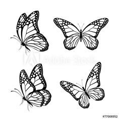 Set Of Realistic Colorful Butterflies Isolated For Spring Butterfly Tattoo Butterfly Tattoos For Women Silhouette Butterfly
