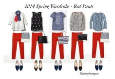 """""""Spring Wardrobe - Red Pants"""" by bluehydrangea ❤ liked on Polyvore featuring French Connection, Boden, Zara, Pim + Larkin, J.Crew, Madewell, Neiman Marcus, H&M, Kate Spade and Clare V."""