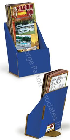 blue cardboard brochure holder