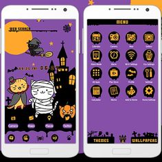 """""""Kitty Halloween"""" 10/5 Have you ever seen a cat out trick-or-treating? It sure would be cute, wouldn't it? Bring some Halloween cuteness to your smartphone with this theme! http://app.android.atm-plushome.com/app.php/app/themeDetail?material_id=1346&rf=pinterest #cute #wallpaper #love #kawaii #design #icon #girl #follow #fashion #code #style #beautiful #plushome  #homescreen #widget #deco #helloween #cats"""