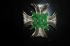 VINTAGE rare TRIFARI Jewels of India BROOCH MALTESE CROSS Rhinestones faux Jade   £80.59 (BIN)