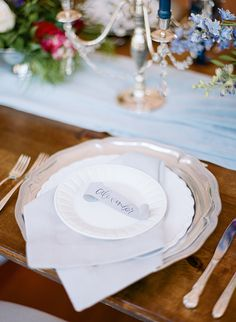 Hamilton wedding inspiration | The Ganeys | Glamour & Grace Wedding Reception Decorations, Place Settings, Hamilton, Dining Room, Greeting Cards, Wedding Inspiration, The Incredibles, Glamour, Decor Ideas