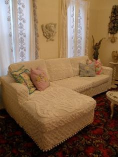 shabby chic slipcovered sectional white vintage chenille bedspreads eclectic living room