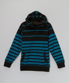 Black & Aqua Engineer Stripe Hoodie - Boys #zulily #zulilyfinds