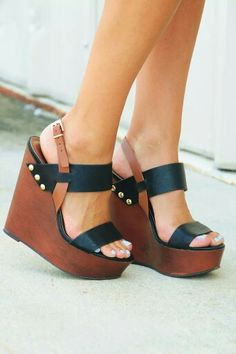 Brown and black wedge heels #shoes @JenniferW