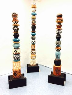 Ceramic {Pueblo} Totems for New Mexico State Fair 2015. 8th-12th grade contributed  New Mexico pueblo(s) inspired orbs.Tallest totem 8 feet tall. #totem #newmexicopueblos #pueblopottery #newmexicostatefair #mesavistahighschool #newmexicoclay