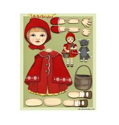 #diy #paper Little Red Ridinghood-- DIY Articulated Paper Doll Set by Cart before the Horse