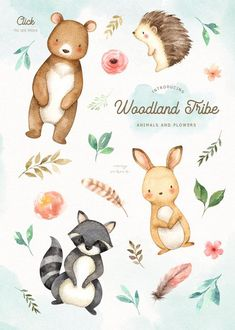 Woodland Tribe Watercolor Clip Art by everysunsun on Woodland Animal Nursery, Woodland Animals, Watercolor Animals, Watercolor Art, Cute Drawings, Animal Drawings, Baby Animals, Cute Animals, Clip Art