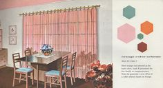 """A great dining room done in pink and turquoise. So I have no idea who it got tagged a """"Orange color scheme"""", From the Mid Century decorating book """"Window Decorating Made Easy by Kirsch"""", Mid-century Interior, Interior Colors, Mid Century Decor, Mid Century House, Mid Century Modern Design, Modern House Design, Modern Interiors, Colorful Interiors, Window Decorating"""