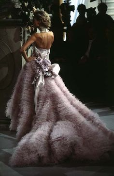 Muted purple ruffled dior couture dress