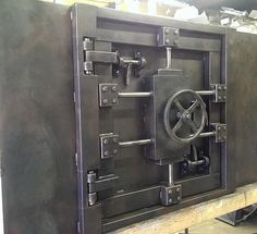Custom Vintage Look Industrial Safe Door # Industrial Decor by Industry Evolution Furniture Co Metal Furniture, Industrial Furniture, Custom Furniture, Industrial Style, Industrial Door, Bunker, Safe Door, Vault Doors, Door Picture