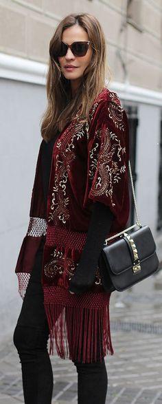Burgundy Embellished Velvet Fringe Cardigan by LadyAddict