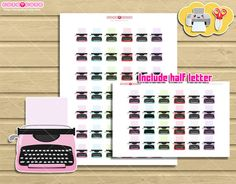 Print and cut stickers, Type writte machine kawaii printable planner stickers for your Erin condren, Happy planner, kikki k, Filofax  More cute
