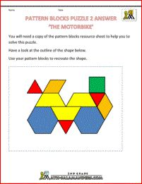 Math puzzles printable - Pattern Block Puzzle Use the pattern blocks provided to re-create the shape given only its outline. Shape Puzzles, Maths Puzzles, Puzzles For Kids, 2nd Grade Math Worksheets, Printable Math Worksheets, Printables, Pattern Block Templates, Pattern Blocks, Free Pattern
