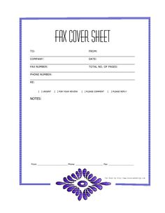 Blank Fax Cover Sheet - Printable PDF | Microsoft excel and Free ...