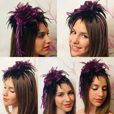 "JH Couture Millinery on Instagram: ""Isotta modeling my purple and black feather fascinator with a leather tassel🌹❤️ it's really quirky and fun !!I must make a similar one soon…"" Feather Hat, Black Feathers, Leather Tassel, Purple And Black, Fascinator, Modeling, Tassels, Couture, Hats"