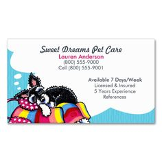 Pet Sitter Care Business Schnauzer Puppy Blue Double-Sided Standard Business Cards (Pack Of 100). This great business card design is available for customization. All text style, colors, sizes can be modified to fit your needs. Just click the image to learn more!