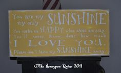 You are my Sunshine Primitive Handpainted Shabby Plaque Subway Sign Nursery Chic Typography. $65.00, via Etsy.