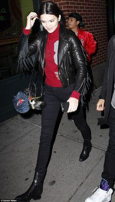 Kendall Jenner.. Barbara Bui Jacket, black skinnies, Alexander Wang Jodhpur Boots, and Celine Nano Bag..