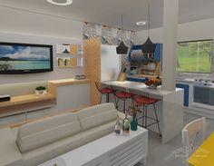 E pra terminar essa segunda, uma proposta para sala e cozinha integradas! Com pontos de cor pra alegrar o ambiente e ladrilho hidráulico dando aquele charme a mais!  #arquiteturabrasileira #architect #interiores #sala #cozinha #designdeinteriores #ladrilhohidraulico #architecturelovers