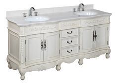 KBC Versailles 72-inch (White/Cream) Double Vanity with Custom Top by DHS