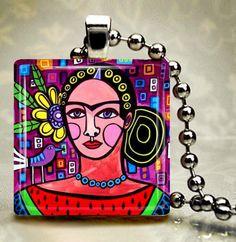 FRIDA Kahlo Jewelry  Mexican Folk Art Art by HeatherGallerArt, $14.99