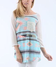 Look at this #zulilyfind! Mint Geometric Three-Quarter Sleeve Top #zulilyfinds