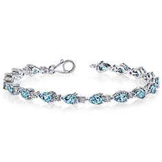London Blue Topaz Bracelet Sterling Silver Pear Shape 675 Carats -- To view further for this item, visit the image link.