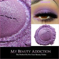 Obcene is a purple with a fuscia undertone and is bursting with sparkles. Very vivid & sparkly. This one has so much glitter its OBSCENE!  MBA eyeshadows are extremely pigmented, vibrant and intense. Our shadows have been formulated with premium base ingredients that will give excellent adhesion and all day wear. A little of our eyeshadows goes a long way. For best results with any/all loose eyeshadow pigments, use with an eyeshadow primer or adhesive for longer wear and to make colors pop…