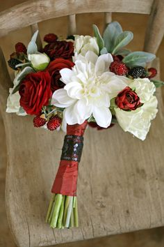 Red Black and White Raspberry Wedding Bouquet - Cottage Chic Bridal Bouquet