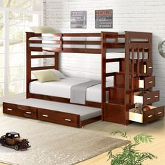 Harriet Bee Jeremias Twin Over Twin Bunk Bed with Trundle Bed Frame Color: Espresso Bed Decor, Bed Design, Diy Bunk Bed, Bunk Bed With Trundle, Bedroom Design, Bunk Bed Plans, Bed Storage, Bunk Beds With Storage, Bed With Drawers