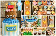Noah's Ark cake, cupcakes, cookies, cakepops. Rainbow jellies not perfected yet.