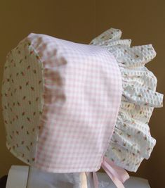Baby Bonnet Rose Bud with Gingham ChecksReversible by MaryandEllen