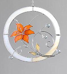 Amazon.de: formano Fensterbild aus tiffany Glas Blume mit Kugeln verziert in Orange