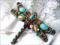 Beaded dragonfly brooch Samthina by MadameElegant on Etsy, $190.00