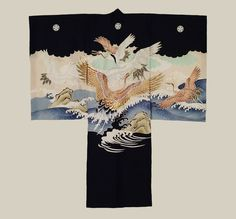 """""""Location: Japan Date: Late-Showa period (1970's) Description: A silk boy's kimono featuring eagles. Machine embroidery. Fair condition, with a fair amount of yelowish stains on the front and some on the back. 32"""" from sleeve-end to sleeve-end x 37"""" height."""""""