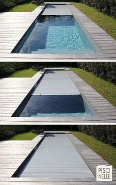 Pool/Schwimmteich im Garten Automatic underwater cover to completely secure the pool. Backyard Pool Designs, Small Backyard Pools, Small Pools, Swimming Pools Backyard, Swimming Pool Designs, Pool Landscaping, Outdoor Pool, Indoor Outdoor, Pool Spa