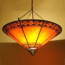 Orientalische Deckenlampe Hennalampe Blume-Orange