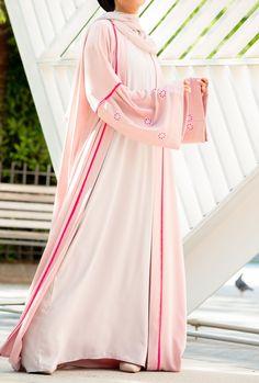 Sabrina Abaya – Al Shams Abayas Abaya Fashion, Abayas, Floral Embroidery, My Outfit, Color Pop, Blush, Feminine, Glamour, Skin Tone